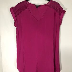 Express Lace Shoulder Pink Blouse
